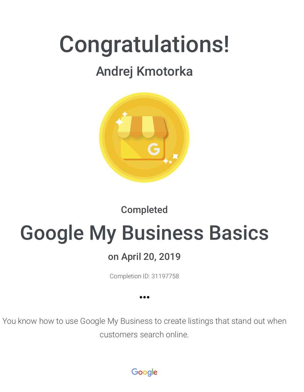 Google My Business Basics : Google